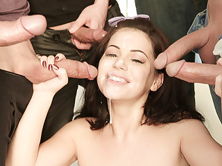 Belle gets 5 huge loads cum in the face after getting fucked