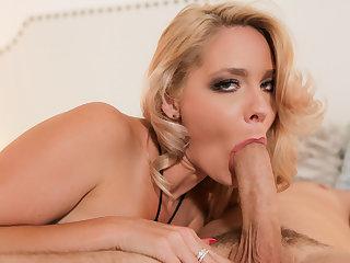 Hot blonde milf sucks her stepson's hard throbbing cock